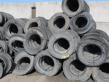 Bundles of Lorry Tyre SideWalls can easily be moved, stacked or loaded onto a farm trailer for transport to another site using a fore-end loader