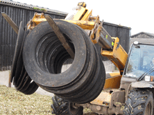 When covering a walled silage clamp most farmers store the Lorry Tyre SideWalls in rows leaned against the outside wall of the silage clamp. They can then be picked up and taken onto the silage clamp 50 at a time on pallet forks