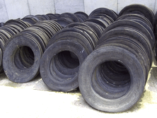Lorry Tyre SideWalls stack clean and dry taking up minimal space ready for the next silage clamp. They are easily moved 50 at a time with pallet forks. 50 tyre walls will cover 50 square metres of silage